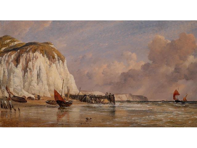 Edward William Cooke, RA (British, 1811-1880) The seashore at Bonchurch, Isle of Wight
