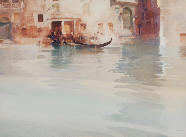 Sir William Russell Flint, RA, PRWS (British, 1880-1969) Traghetto, San Stae, Venice 49 x 66 cm. (19 5/16 x 26 in.)