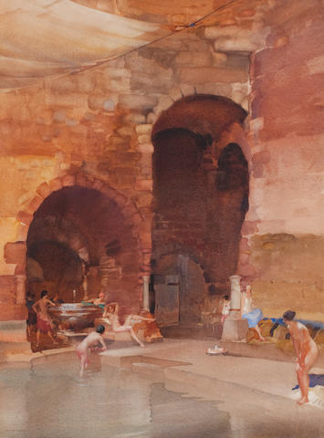 Sir William Russell Flint, RA, PRWS (British, 1880-1969) The Pool of the Maids of Honour 66.5 x 49.5 cm. (26 3/16 x 19 1/2 in.)