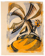 Sybil Andrews CPE (British/Canadian, 1898-1992) The Windmill Linocut printed in yellowish orange, permanent blue and Chinese blue, 1933, on thickish buff oriental laid, signed, titled and numbered 42/60 in pencil, with margins, 318 x 220mm (12 1/2 x 8 5/8in)(B)