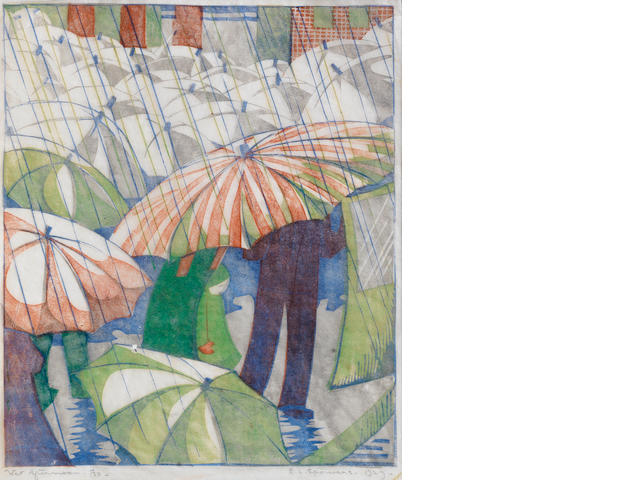 Ethel Spowers (Australian, 1890-1947) Wet Afternoon Linocut printed in grey, reddish brown, emerald green and cobalt blue, 1929, an early, good impression, on buff oriental laid tissue, signed, titled, dated and numbered 4/50 in pencil, with margins, 238 x 203mm (9 3/8 x 8in)(B)