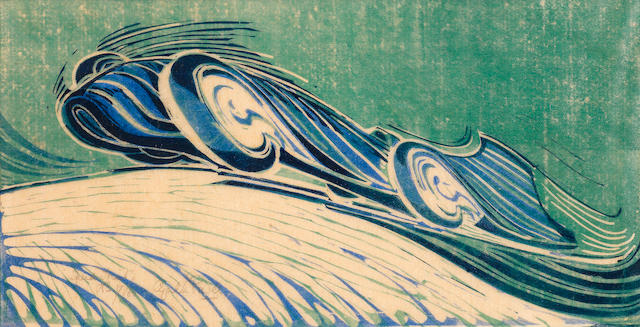 Cyril Edward Power (British, 1872-1951) Speed Trial Linocut printed in viridian, permanent blue and Chinese blue, circa 1932, an excellent richly inked impression, on buff oriental laid tissue, signed, titled and numbered 17/60 in pencil, with margins, 196 x 375mm (7 3/4 x 14 3/4in)(B)