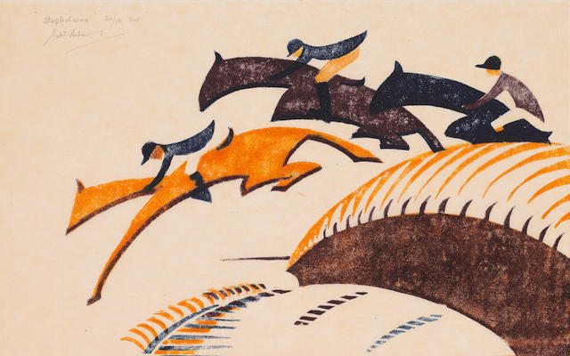 Sybil Andrews CPE (British/Canadian, 1898-1992) Steeplechasing Linocut printed in Chinese orange, alizarin purple madder and Prussian blue, 1930, on buff oriental laid tissue, signed, titled and numbered 20/50 and inscribed 'Aust.' in pencil, from the Australian edition printed in 1936, with margins, 175 x 272mm (6 7/8 x 10 3/4in)(B) unframed