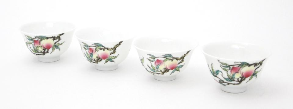 A set of four famille rose tea bowls and two other
