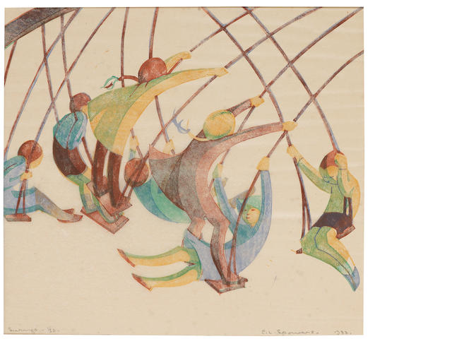 Ethel Spowers (Australian, 1890-1947) Swings Linocut printed in yellow ochre, viridian, reddish brown and cobalt blue, 1932, an excellent impression, on buff oriental laid, signed, titled, dated and numbered 11/50 in pencil, with margins, 242 x 266mm (8 3/4 x 10 1/2in)(B)