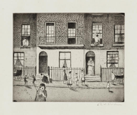 Christopher Richard Wynne Nevinson (British, 1889-1946) Any London Street Etching printed with tone, circa 1922, on watermarked F.J. Head & Co. hand-made laid, signed in pencil, from an edition not exceeding 75, with full margins, 140 x 175mm (5 3/4 x 6 3/4in)(PL) unframed