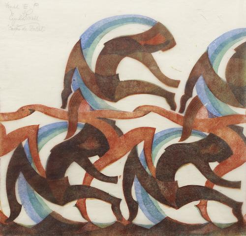 Cyril Edward Power (British, 1872-1951) Corps de Ballet  Linocut printed in spectrum red, raw sienna, viridian and permanent blue, 1932, a richly inked and vibrant impression, on oriental laid tissue, signed, titled and inscribed  'Final E. P.', additionally inscribed 'Final Specimen' in pencil in the left margin, an experimental proof before the numbered edition of 60, with the artist's printing insctructions in the left margin, with margins, 282 x 282mm (11 x 11in) (B)