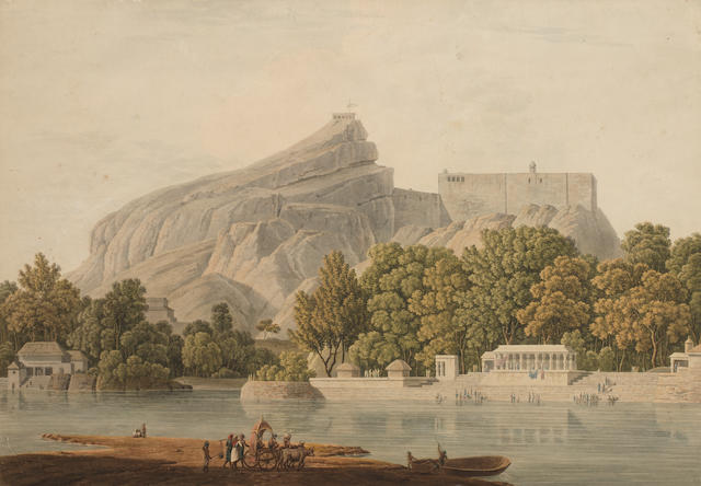 The Rock of Trichinopoly, the River Cauvery in the foreground Company School, or perhaps by a European hand, after an aquatint by Thomas Daniell, first quarter of the 19th Century