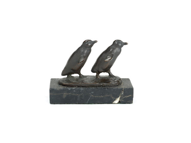 August Gaul (German, 1869-1921): A bronze model of a pair of walking penguins
