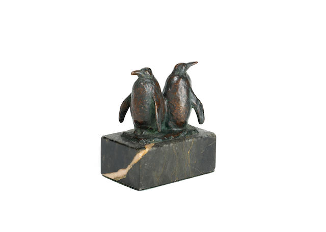 August Gaul (German, 1869-1921): A bronze model of a pair of Emperor penguins
