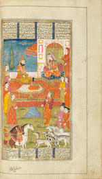Firdausi, Shahnama, The Book of Kings, lavishly illustrated with one hundred and ten miniatures, copied by the scribe Nizam-ad-Din, formerly in the library of the last Nawab of Bengal North India, probably Kashmir, dated 3rd Jumada al-Thani AH 1244/ 11th November AD 1828