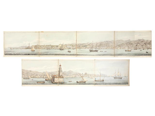 Capt. Daniel Roberts (British 1789-1869) Watercolour panorama of Genoa