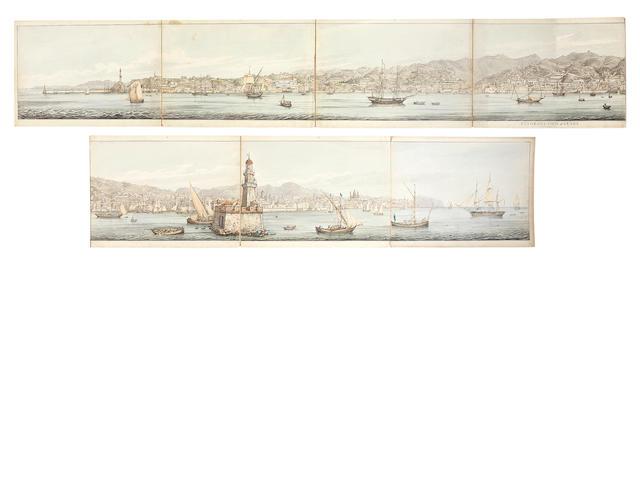 Capt. Daniel Roberts (British 1789-1869) Watercolour panorama of Genoa
