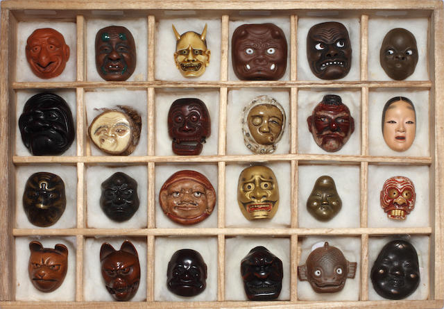 A collection of thirty-one Noh Mask netsuke, mostly Meiji