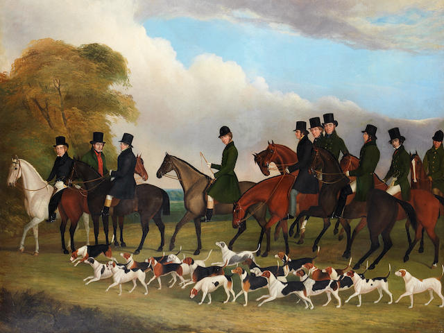 John Paul (British, born circa 1830-died circa 1890) Members of the Hopton Hunt 1841