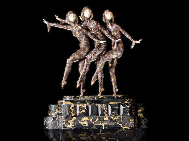 Demetre Chiparus (1886-1947) 'Les Girls' a Cold-Painted Bronze and Carved Ivory Group, circa 1925