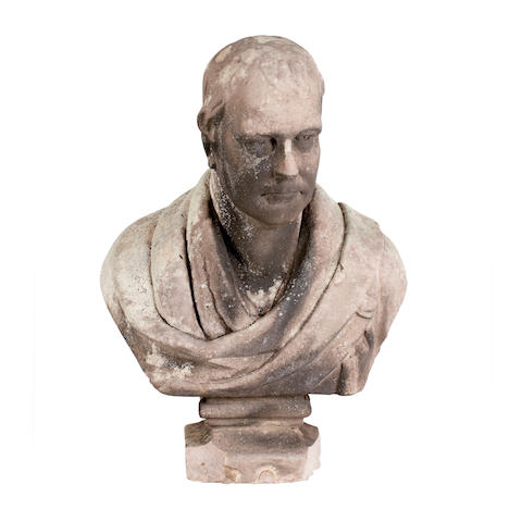 A carved sandstone bust of Sir Walter ScottEngraved W. Wilsons, Tweedmouth