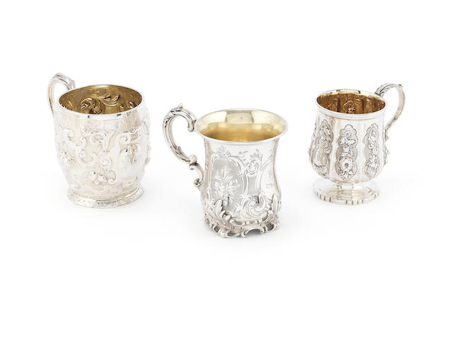 A William IV silver christening mug possibly by Edward Barton, London 1832 together with two Victorian examples (3)