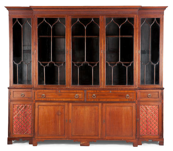 An Edinburgh George III and later mahogany breakfront bookcase