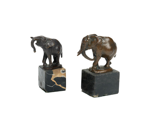 August Gaul (German, 1869-1921): Two bronze models of elephants