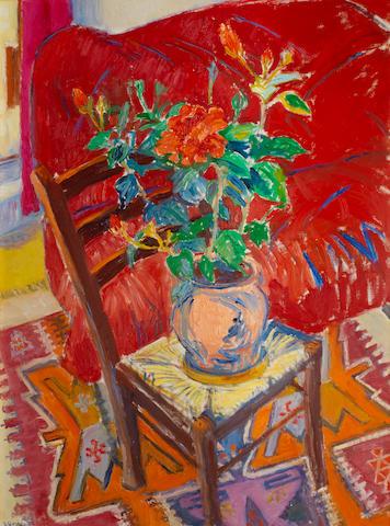 Frederick Gore CBE RA (British, 1913-2009) Incantation: Hibiscus and red sofa