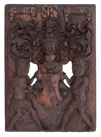 A late 16th/early 17th century carved oak panel for Stirling of Keir
