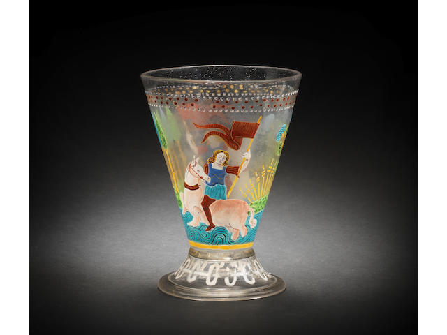An important and unrecorded Venetian enamelled goblet, circa 1500-1520