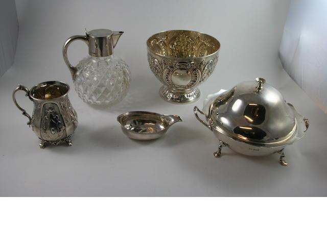 A Victorian silver and cut glass claret jug London 1890 (5)