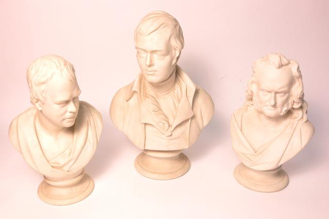Three parian busts of Scottish literary figures