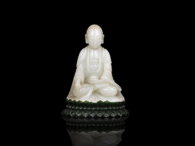 A rare very pale green jade figure of Buddha The Buddha 18th/19th century