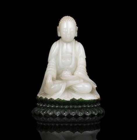 A rare very pale green jade figure of Buddha The Buddha 18th/19th century