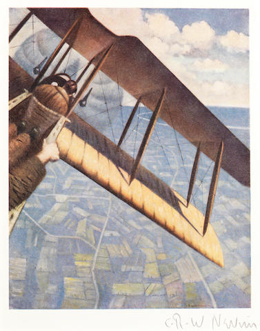Christopher Richard Wynne Nevinson (British, 1889-1946) Banking at 4000 feet Offset lithograph printed in colours, 1918, on thin wove, signed in pencil, bound as issued in the book 'The Great War: Fourth Year: Paintings by C.R.W. Nevinson', with an introductory essay by J.E. Crawford Flitch, the volume printed by Garden City Press Ltd., Letchworth, published by Grant Richards Ltd., London, overall 290 x 228mm (11 1/2 x 9in) volume