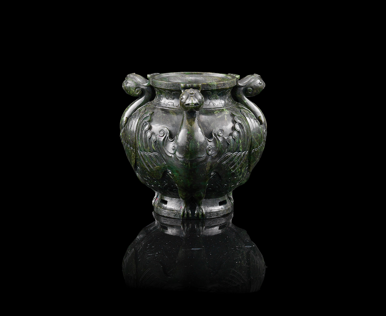 A rare Imperial spinach jade 'phoenix' jar