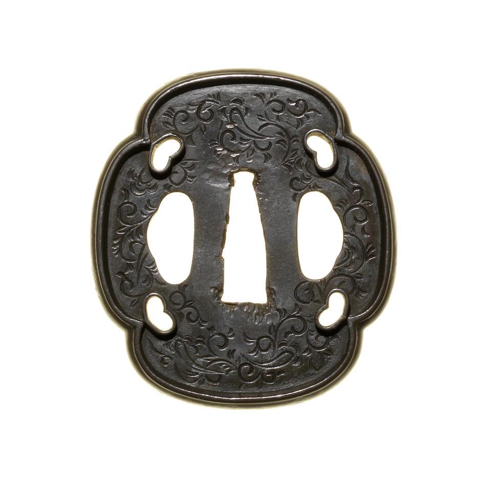 A tachishi yamagane tsuba Muromachi Period, circa 1500-1550