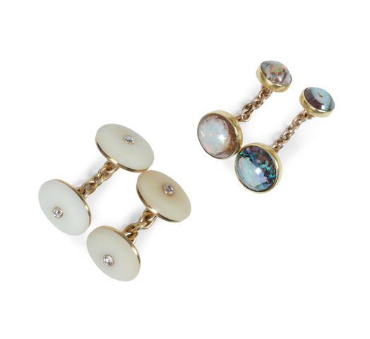 Two pairs of gem set cufflinks (2)