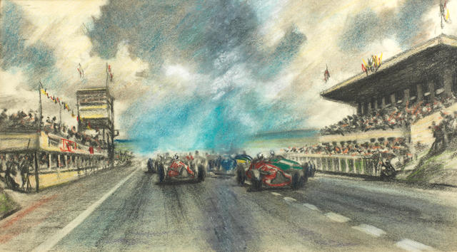 Roy Nockolds (British, 1911-1979), 'Start of a French Grand Prix at Rheims', circa 1950,