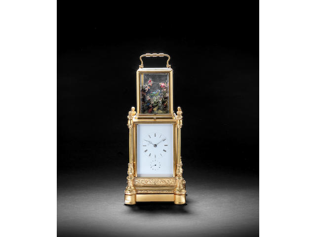 A rare late 19th century French 'singing bird' automata carriage clock Japy Freres