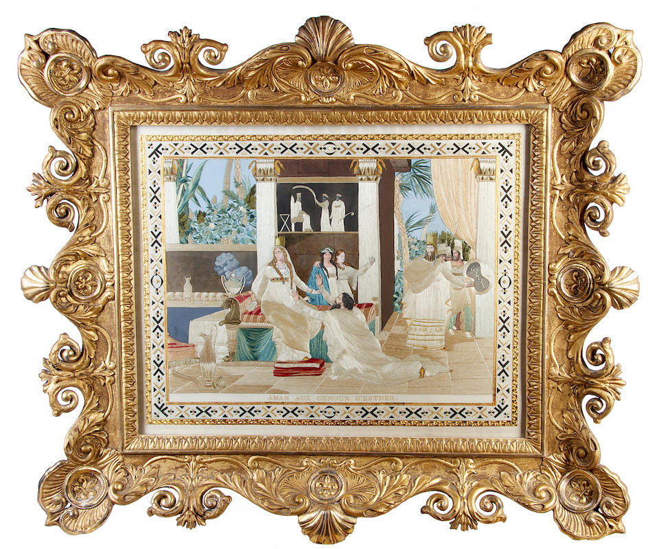 A set of four late 18th/early 19th century silkwork pictures, depicting the Story of Esther