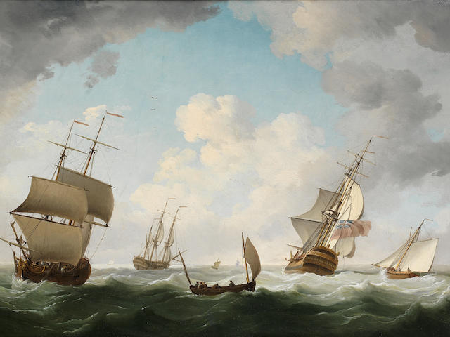 Charles Brooking (British, 1723-1759) A Merchant Snow, two of the King's Ships-of-War, a Lugger and a Cutter all in close proximity in the Channel