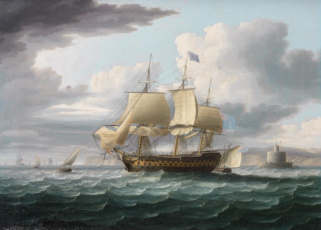Thomas Buttersworth (British, 1768-1828) Admiral Lord St. Vincent's flagship Ville de Paris hove-to, but about to get underway again having 'dropped her pilot' off the Bugío lighthouse at the mouth of the Tagus