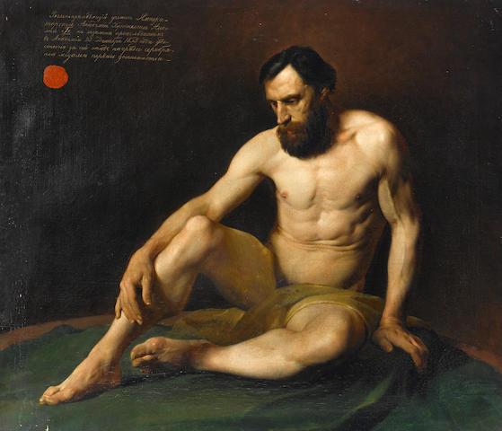Nikolai Nikolaevich Ge (Russian, 1831-1894) Male nude