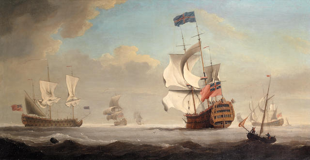 Samuel Scott (London 1702-1772 Bath) The flagship Royal George coming to anchor in a stiff breeze, probably upon arrival at Spithead