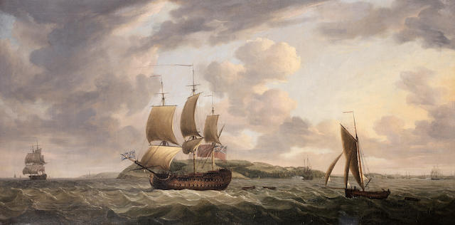 Dominic Serres (Auch 1722-1793 London) H.M.S. Brunswick, commanded by Captain John Harvey, passing Mount Edgcumbe as she heads into Plymouth Sound and thence open water