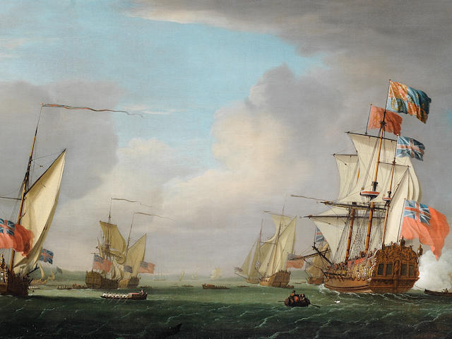 Peter Monamy (London 1681-1749) The Royal Yacht Peregrine and her escorts off Gillingham, Kent, acknowledging a salute as she passes Upnor Castle