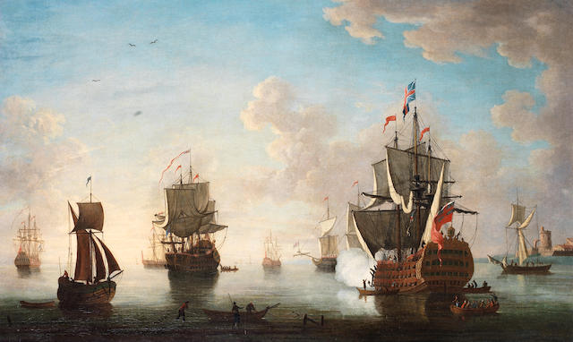 English School, Early 18th century The English fleet at anchor in a calm off a fortified citadel