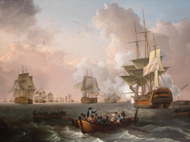 William Anderson (British, 1757-1837) H.M.S. Culloden, under Captain Troubridge's command, stranded on a shoal off Aboukir Island as the battle of the Nile rages in the distance ahead of her