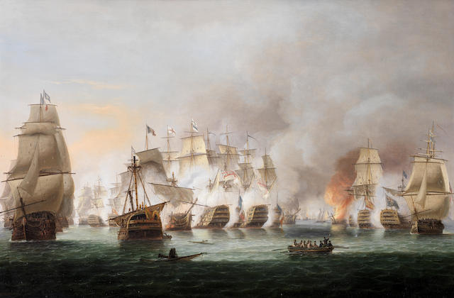 Thomas Luny (British, 1759-1837)  The battle of Trafalgar, 21st October 1805 – Nelson's flagship Victory and Téméraire in close action with the French Rédoubtable as the battle rages around them