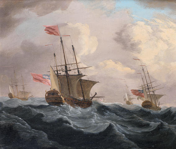 English School, mid-19th century A Squadron of the Red at sea and battling against a stiff breeze in a heavy swell