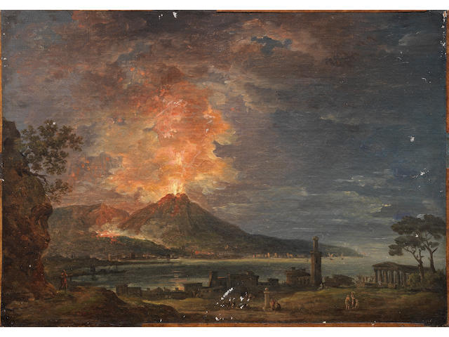 Jean Baptiste Francois Genillion (Paris 1750-1829) A capriccio of classical ruins with a volcano erupting on the horizon