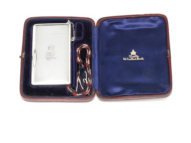ROYAL INTEREST: An Edwardian silver presentation cigarette/vesta case by Alfred Clark, London 1907